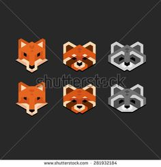 Stylized geometric animal heads (fox, red panda, raccoon) in clean minimalistic style.