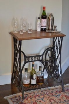 repurposed old sewing machine as a dinner table - Pesquisa Google