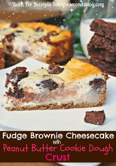 Brownie Stuffed Cheesecake with Peanut Butter Cookie Dough Crust!! http://backforsecondsblog.com  #cheesecake #recipe #brownies #peanutbuttercookie
