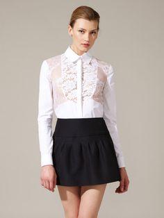 Cotton Lace Insert Shirt