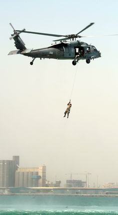 BAHRAIN (April 25, 2012) Explosive Ordnance Disposal Technician 2nd Class Jakob Isbrandtsen, assigned to Explosive Ordnance Disposal Mobile Unit (EODMU) 2, is hoisted into an SH-60 Sea Hawk helicopter during cast and recovery training. EODMU-2 is deployed with Commander, Task Group (CTG) 56.1, which provides maritime security operations and theater security cooperation efforts in the U.S. 5th Fleet area of responsibility. Navy photo by Mass Communication Specialist 1st Class Jayme Pastoric