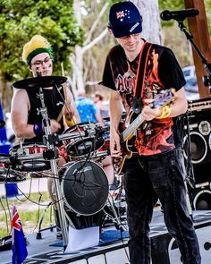 More Gridlock belting out some Aussie rock anthems at Australia Day festivities. Lee (vocals/guitar) and Gerrad (drums) Gladstone Qld, Rock Anthems, Local Music, Australia Day, Live Music, Rock Bands, Drums, Guitar, Punk