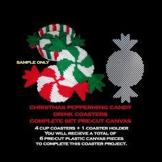 Christmas Drinks Table Set Up Christmas Gift Baskets, Christmas Crafts For Gifts, Christmas Drinks, Christmas Ornaments, Plastic Canvas Coasters, Plastic Canvas Crafts, Free Plastic Canvas Patterns, Cut Canvas, Plastic Canvas Christmas