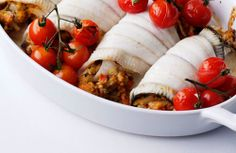 A very tasty aubergine and tomato mixture gives plaice fillets a fantastic flavour.