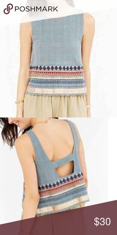 NWOT UO Ecote Embroidered Border Apron Tank Top Brand new, never worn bluish-green embroidered border apron Tank Top with replacement beads attached. Cut in a boxy fit with fryers edge hemline, side slits, and a banded cutout in the back. Urban Outfitters Tops Tank Tops