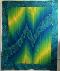 """Two fabric Bargello"" quilt made from ombre fabric & batik. I love the colors!"