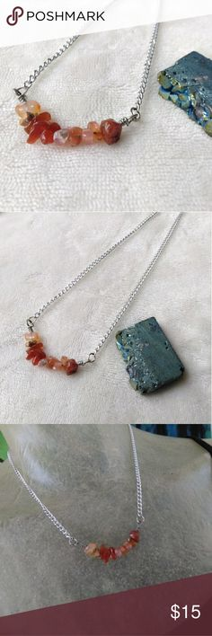 "🆕 Boho Style Necklace - Carnelian Crystal Handmade by Zoey  Beaded necklace. Boho style jewelry. Natural Carnelian crystal beaded necklace. Silver chain. Lobster claw clasp.  2"" gemstone pendamt 16"" chain.   Boho, bohemian, gypsy, tribal, hippie, accessories, crystals, handmade, yoga, zen, chakras, birthstone, Germaine Zoey Zoso Jewelry Necklaces"