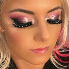 @ALEXA_BLISS_WWE_ TAKING THAT GLITZ FLIP TO A WHOLE OTHER LEVEL WITH @VC_MAKEUPARTIST @WWEMAKEUPDIVASusing @katvondbeauty, @Chaneloffcial Ilusion d'ombre, @stilacosmetics magnificent metals and liquid liner and @doseofcolors Hidden Treasure palette.  @serpentinebeauty lips in vivacious.  Becca Cosmetics highlights. ABH for flawless brows. Skin prepped with @drdennisgross.  #wwemakeupdivas #technicolordreamteam #raddestmakeupteam #BAMFactor #BlissedOff #SmallButFierce #Fierce #AlexaBliss…