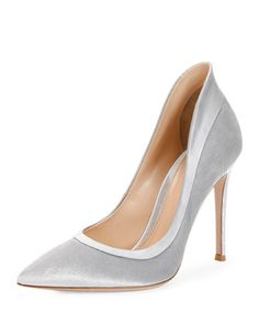 Velvet+High-Heel+Pump,+Silver+by+Gianvito+Rossi+at+Neiman+Marcus.