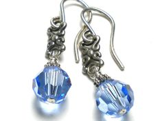 Swarovski Blue Crystal and Sterling Silver Earrings by Tina St John Jewelry
