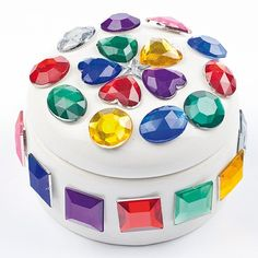 Easy craft idea for kids - embellishing a plain pot or box with large self adhesive gems.