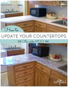 Kitchen Update On A Budget! Countertop Paint That Looks Like Granite. DIY  For Under
