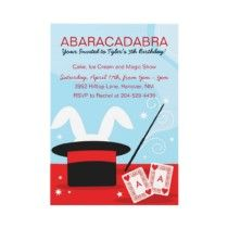Kids Magic Themed Birthday Party Invitations