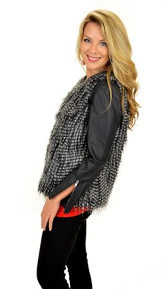 2 pieces in one! The sleeves zip off to give you a fabulous fur vest! Available today at shopbluedoor.com!