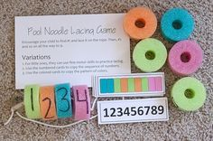 Pool noodle lacing game with numbers or ABC line up.