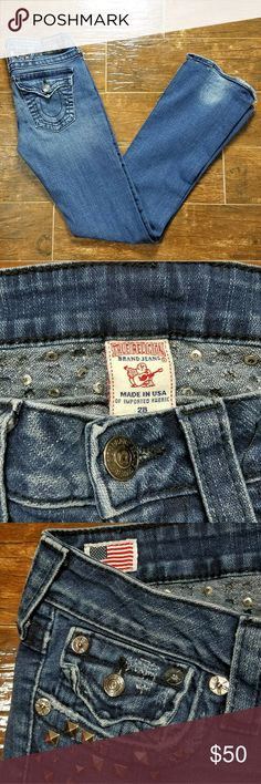 "True Religion Julie Jeans sz 28 True Religion Sz 28 Julie Disco Punk Blue Jeans Denim Studded Bead Jewel  All studs intact, some wear to hem. Please see all pictures.  Flat Lay Measurements  Waist: 15"" Hip: 17"" Inseam: 32"" Length: 42""   Comes from a smoke and pet free home! True Religion Jeans Skinny"