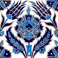 An Ottoman Iznik Style Floral Design Pottery Polychrome, By Adam Asar, No 36 - Round Beach Towel Turkish Tiles, Turkish Art, Portuguese Tiles, Moroccan Tiles, Moroccan Decor, Islamic Tiles, Islamic Art, Turkish Pattern, Tuile