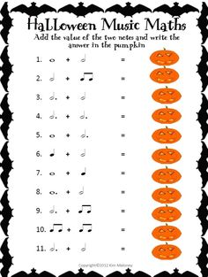 TEN Rhythm Worksheets ( answers included) with a Halloween theme Music Math, Music Classroom, Music Teachers, Halloween Music, Music Worksheets, Piano Teaching, Elementary Music, Elementary Schools, Music Activities