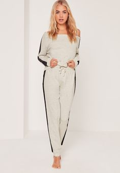 Missguided - Lace Detail Off The Shoulder Lounge Tracksuit Grey