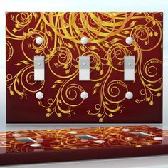 DIY Do It Yourself Home Decor - Easy to apply wall plate wraps | Golden Vines  Red background with gold flowers  wallplate skin sticker for 3 Gang Toggle LightSwitch | On SALE now only $5.95