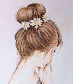 38 Trendy Flowers In Hair Drawing Beautiful Tumblr Sketches, Tumblr Drawings, Easy Drawings, Drawing Sketches, Drawing Art, Drawing Ideas, Drawings Of Hair, Drawings Of Girls, Sketch Ideas