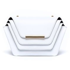 Ellia Wang - Layer Clutch In White ($625) ❤ liked on Polyvore featuring bags, handbags, clutches, chain handbags, white clutches, white purse, chain purse and white handbags