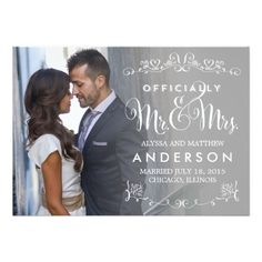Official Titles Wedding Announcement - Gray