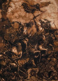 4 horsemen of the apocalypse in bleach by artist Will Koffman ~ I like this but it borrows very heavily from Albecht Durer's Four Horse woodblock print.