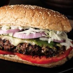 """""""Fajita"""" Burgers Recipe- This healthy burger recipe features a spicy fajita burger slathered with a spicy chipotle mayonnaise and topped with roasted Anaheim peppers and a delicious slaw. Serve it on an oblong bun. Nutrition Per serving: 434 calories; 20 g fat ( 7 g sat , 7 g mono ); 87 mg cholesterol; 36 g carbohydrates; 3 g added sugars; 31 g protein; 6 g fiber; 662 mg sodium; 660 mg potassium."""