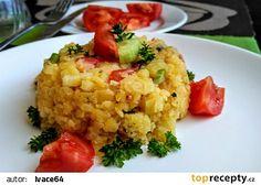 Svěží bramborový salát s rajčaty a salátovými okurkami recept - TopRecepty.cz Risotto, Grains, Rice, Ethnic Recipes, Food, Essen, Meals, Seeds, Yemek