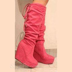 Fashionable Suede Wedge Heel Knee High Boots
