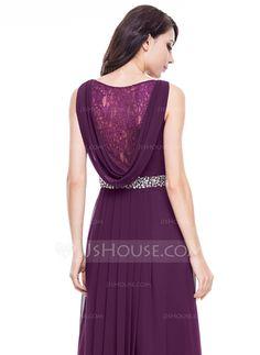 A-Line/Princess V-neck Floor-Length Chiffon Evening Dress With Lace Beading (017056118)