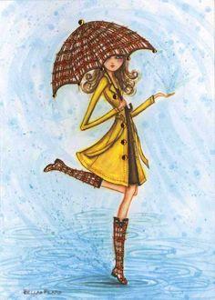 Bwrw Glaw: Raindrops Art Print by Bella Pilar Umbrella Art, Under My Umbrella, Art And Illustration, Mode Poster, Rain Art, Dancing In The Rain, Canvas Prints, Art Prints, Fashion Sketches