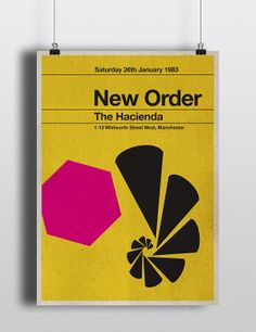 New Order concert miniposter  mid century / by TheStereoTypist, £10.00