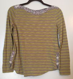 Anthropologie Postmark Laurelwood Boat Neck Yellow/Tan Striped Blouse/top XS #Anthropologie #Blouse