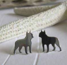 Boston Terrier Dog Stud Earrings