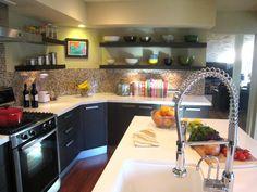 open shelving, glass mosaic tile backsplash, dark wood cabinets, lighting    Transitional Kitchens from Jill E. Hertz : Designers' Portfolio 1910 : Home & Garden Television