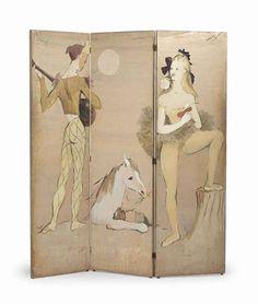 The Personal Collection of Elsa SchiaparelliMARCEL VERTÈS (1895-1961) Paravent représentant des personnages de la Comedia dell'Arte
