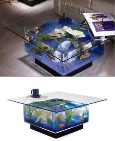 Aquarium Coffee Table Unusual Coffee Tables, Creative Coffee, Modern Table, A Table, Table Bases, Pool Table, Console Table, Fish Tank, Decorating Your Home