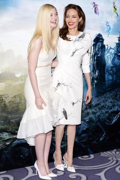Maleficent press conference, London – May 9 2014 Elle Fanning and Angelina Jolie, who wore a dress by Atelier Versace.