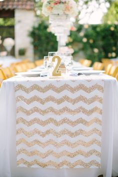 WE ♥ THIS!  ----------------------------- Original Pin Caption: Sequin runner: http://www.stylemepretty.com/california-weddings/2015/02/22/glitter-and-gold-wedding-at-holman-ranch/ | Photography: This Love of Yours - http://thisloveofyours.com/