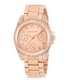 Look at this #zulilyfind! Rose Goldtone & Swarovski Crystal Wide Blair Chronograph Watch #zulilyfinds