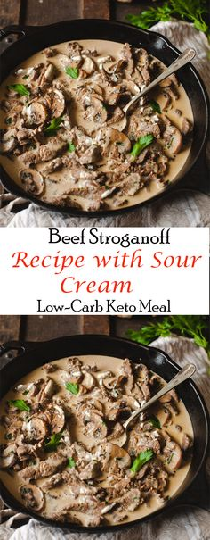Beef Stroganoff Recipe with Sour Cream - Low-Carb Keto Meal ##dinner #maincourse #beef #stroganoff #sour #cream #lowcarb #keto #meal