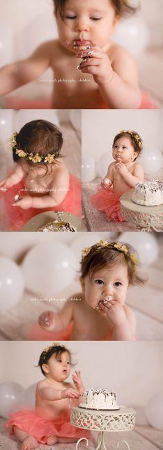 Michigan photographer #family #children #babies #photography #winter #one #studio #girl #cute #girls #peach #smash #cake #cakesmash #balloons #photo #macomb #rochester #shelby #flower #headpiece
