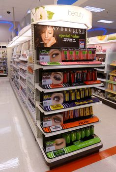 """Maybelline Mascara Endcap with """"special value"""" offer to """"text to find the love of your lash"""" program."""
