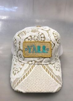 7654bd00568 Judith March Crochet Hat with Gold Twill Y all Patch