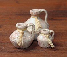 Elegant Mediterranean Set of Miniature Crocks for Your Dollhouse by DinkyWorld on Etsy