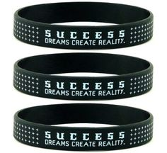 """SUCCESS"" INSPIRATIONAL WRISTBANDS – Bulk Gifts for Adults – Business Corporate Fitness Professional Motivational Positive Thinking Gifts Pack of 12 ""Success"" inspirational silicone wristbands. Each bracelet reads, ""SUCCESS: DREAMS CREATE REALITY"""