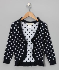 Navy Polka Dot Ruffle Open Cardigan - Toddler & Girls by Taylor Joelle Designs on #zulily #cutiestyle
