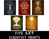 Cool!  But a little pricey for the classroom I guess...  6x9 Steampunk Science Art Print 5 Rock Star Scientist Physics Diagram Educational Poster Geek Chic Tesla Edison Einstein Molecule Relativity